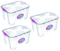 Kit 3 Caixas Organizadoras Transparente 12 Litros - Uninjet -