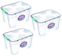 Kit 3 Caixas Organizadoras Transparente 20 Litros - Uninjet -