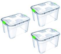 Kit 3 Caixas Organizadoras Transparente 56 Litros - Uninjet -