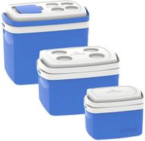 Kit 3 Caixas Termicas 32l/12l/5l Cooler Soprano Azul -