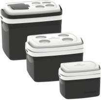 Kit 3 Caixas Termicas 32L/12L/5L Cooler Soprano Preto -