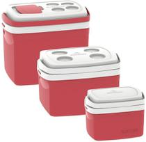 Kit 3 Caixas Termicas 32L/12L/5L Cooler  Soprano Vermelho -