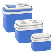 Kit 3 Caixas Térmicas Tropical 5L, 12L e 32L Soprano Azul -