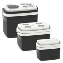 Kit 3 Caixas Térmicas Tropical 5L, 12L e 32L Soprano Preto -