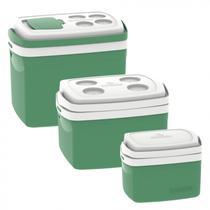 Kit 3 Caixas Térmicas Tropical 5L, 12L e 32L Soprano Verde -