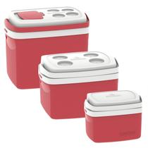 Kit 3 Caixas Térmicas Tropical 5L, 12L e 32L Soprano Vermelho -