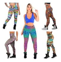 Kit 3 Calça Legging Suplex Feminina Estampada Moda Fitness - Rt13