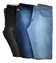 Kit 3 Calças Jeans Masculina Premium Slim C/ Lycra Elastano - Wk-66