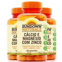 Kit 3 cálcio magnésio e zinco sundown 100 comprimidos - Sundown naturals vitaminas