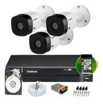 kit 3 camera de segurança monitoramento intelbras Completo -
