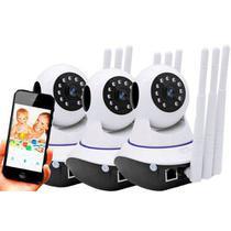 Kit 3 Câmera Ip Noturna Segurança Espiã 720p HD Audio Wifi Wireless 3g Sensor Infravermelho 3 Antena - 3 Antenas
