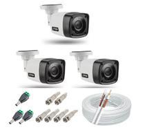 Kit 3 Câmera Segurança Infravermelho hd + Cabo + conectores - Citrox