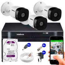 Kit 3 Câmeras de Segurança 10m Infravermelho HD 720p VHD 1010B G5 + DVR Intelbras + HD WD Purple 1TB -