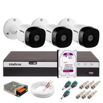 Kit 3 Câmeras de Segurança 20 metros Full HD 1080p VHD 1220B IR + DVR Intelbras + HD WD Purple 1TB -