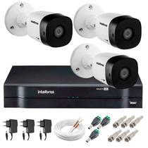 Kit 3 Câmeras de Segurança 20m Infravermelho HD 720p VHD 1120B G5 + DVR Intelbras + Acessórios -