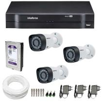 Kit 3 Câmeras de Segurança 20m Infravermelho Hd 720p VHD 3120 B G5 + Dvr Intelbras + 1TB Purple -
