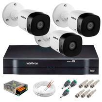Kit 3 Câmeras de Segurança 30m Infravermelho HD 720p VHD 3130 B G5 + DVR Intelbras Multi HD -