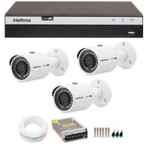 Kit 3 Câmeras de Segurança 4MP 2k Intelbras VHD 3430 B + DVR Intelbras 4K + Acessórios -