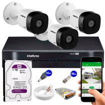 Kit 3 Câmeras de Segurança HD 720p Intelbras VHD 3130 B G5 + DVR Intelbras Multi HD + HD 1tb -