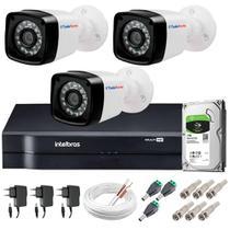 Kit 3 Câmeras de Segurança HD 720p TF 20m Infravermelho + DVR Intelbras HD 1TB -