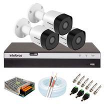 Kit 3 Câmeras de Segurança Intelbras Full HD 1080p VHD 3230 B G5 + DVR MHDX 3104 + Acessórios -