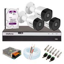 Kit 3 Câmeras de Segurança Intelbras Full HD 1080p VHD 3230 B G5 + DVR MHDX 3104 + HD WD Purple 1TB -