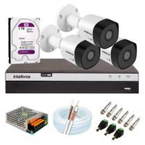 Kit 3 Câmeras de Segurança Intelbras Full HD 1080p VHD 3230 B G5 + DVR MHDX 3104 + HD WD Purple 3TB -