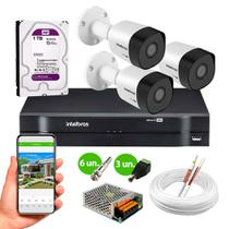Kit 3 Câmeras de Segurança Intelbras HD 720p VHD 3130 B G6 30m infra Metal + DVR Intelbras + HD 1tb -