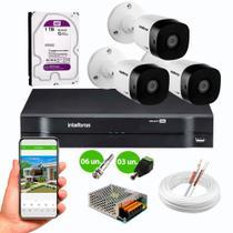 Kit 3 Câmeras de Segurança Intelbras VHD 1120 B HD 720p 20m Infra 1MP DVR 4 Canais Intelbras HD 1TB -