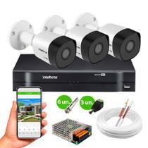 Kit 3 Câmeras de Segurança VHD 3130 B G6 HD 720p Metal + DVR MHDX 1104 4 Canais Intelbras -