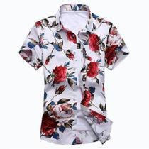 Kit 3 Camisas Social Floridas Masculina Havaiana Estampadas - Rt13