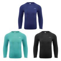 Kit 3 Camisas Térmicas Selene Proteção UV ML Juvenil - Marinho/Preto/Oceano -