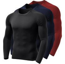 Kit 3 Camisetas Manga Longa Proteção Solar Uv50 Ice Tecido Gelado 1 Pretas 1 Marinho 1 Vermelha - Outdoor Sports