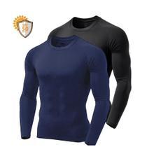 Kit 3 Camisetas Manga Longa Proteção Solar Uv50 Ice Tecido Gelado 2 Pretas 1 Marinho - Outdoor Sports