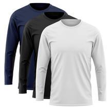 Kit 3 Camisetas Manga Longa Proteção Solar Uv50 Ice Tecido Gelado Marinho Preto  Branca - Outdoor Sports
