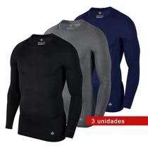 Kit 3 Camisetas Térmicas Masculina Segunda Pele Camisa Uv50+ - Gröve
