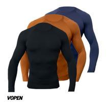 Kit 3 Camisetas Térmicas Segunda Pele Manga Longa Bike Frio - Vopen