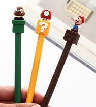 Kit 3 Canetas com Escrita Fina 0,5 mm Decorada com Mario e sua Turma - Kopeck