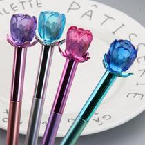 Kit 3 Canetas Metalizada com Escrita Fina Decorada com Uma Rosa tipo Cristal em 3D - Kopeck