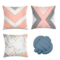 kit 3 capa almofada mármore rosa e cinza 40x40 + 1 almofada nó cinza - Kombigode
