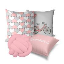kit 3 capa almofada rosa com cinza 40x40 + nó rosa - Kombigode