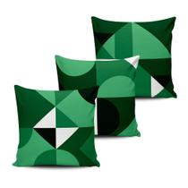 Kit 3 Capas Almofadas Formas Geometricas Verde 45x45cm - Pano E Arte