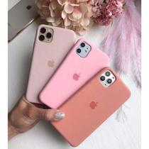 Kit 3 Capas Capinha Silicone Aveludado iPhone 11 rosa areia , rosa bebê e salmão - Top Luxo