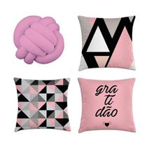 kit 3 capas de almofadas geométrica rosa e preto 40x40 + 1 almofada Nó - Kombigode