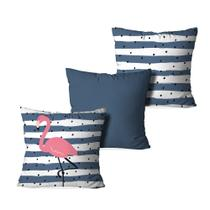 Kit 3 Capas para Almofadas Decorativas Stripes Flamingo - Love decor