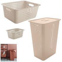 Kit 3 Cestos Organizador 47L/14,5L/1,5L Roupas Suja Multiuso Lavandeira Closet - Ou -
