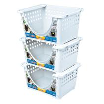 Kit 3 cestos prateleira organizador caixa guarda tudo container emplihavel multiuso para roupas sapatos brinquedos arqplast branco -
