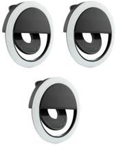 kit 3 Clipe Anel Luz Pra Selfie Ring Light Flash Celular Universal - Guoro