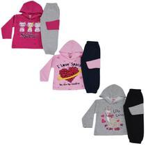 Kit 3 Conjunto Moletom Infantil Feminino de Inverno Tecido Flanelado Com Capuz Cores Diversas - Colbacho