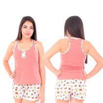 KIT 3 Conjuntos Pijama Baby Doll Feminino Adulto 100% Algodão - Tutus